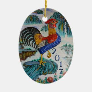 Ornement Ovale En Céramique Année de 2017 Chinois du coq, photo facultative