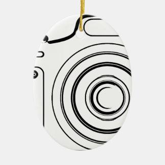 Ornement Ovale En Céramique Appareil-photo noir et blanc