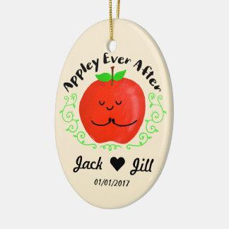 Ornement Ovale En Céramique Apple positif font des calembours - Appley pour