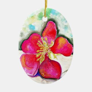 Ornement Ovale En Céramique Aquarelle rose de fleur de mystère