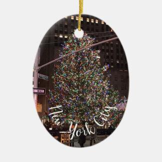 Ornement Ovale En Céramique Arbre de Noël central de New York City Rockefeller