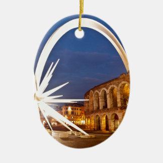 Ornement Ovale En Céramique Arène de Vérone avec Starburst