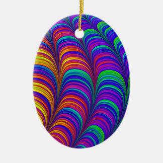 Ornement Ovale En Céramique Art 3D abstrait coloré par arc-en-ciel