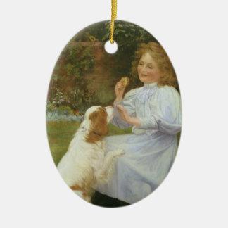 Ornement Ovale En Céramique Art animal vintage, plaisirs d'espoir par Gore