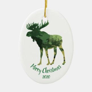 Ornement Ovale En Céramique Art d'amusement d'orignaux de camouflage de Noël