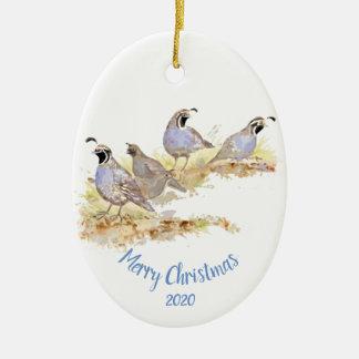 Ornement Ovale En Céramique Art daté d'oiseau de cailles de Californie de Noël