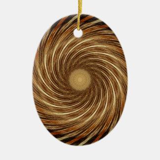 Ornement Ovale En Céramique Art en spirale noir de kaléidoscope de vague de