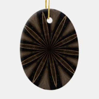 Ornement Ovale En Céramique Art kaléïdoscopique rustique foncé de fleur de