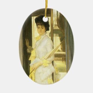 Ornement Ovale En Céramique Art victorien, portrait de Mlle Lloyd par Tissot