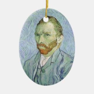 Ornement Ovale En Céramique Autoportrait dans le bleu par Vincent van Gogh