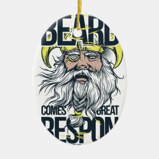 Ornement Ovale En Céramique avec la grande barbe vient la grande