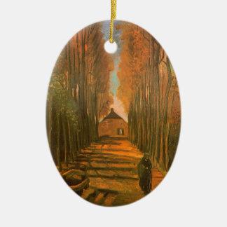 Ornement Ovale En Céramique Avenue des peupliers en automne par Vincent van