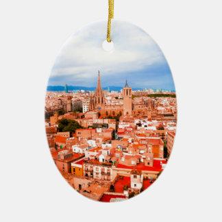Ornement Ovale En Céramique Barcelone