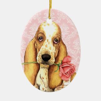 Ornement Ovale En Céramique Basset rose de Valentine