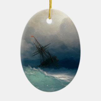 Ornement Ovale En Céramique Bateau sur les mers orageuses, Ivan Aivazovsky -