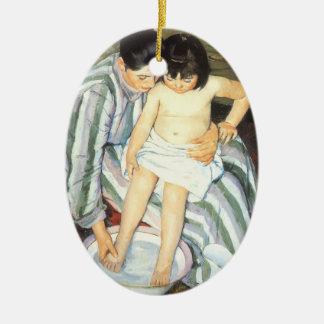 Ornement Ovale En Céramique Bath de l'enfant par l'impressionisme de cru de