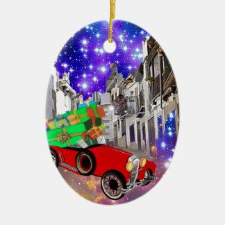Ornement Ovale En Céramique Belle abondance de voiture des cadeaux sous la