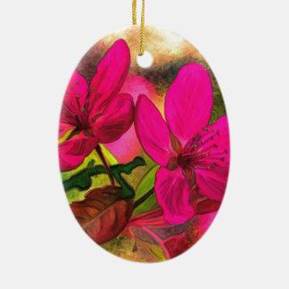 Ornement Ovale En Céramique Belle fleur rouge-rose de pomme. Double face