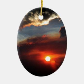 Ornement Ovale En Céramique belle photo de coucher du soleil de smokey
