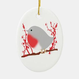 Ornement Ovale En Céramique bird