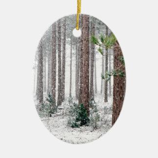 Ornement Ovale En Céramique Bois d'hiver de Milou