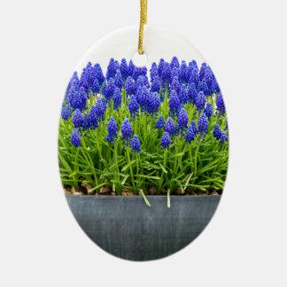 Ornement Ovale En Céramique Boîte grise de fleur en métal avec les jacinthes