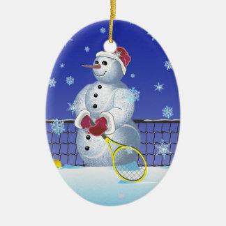 Ornement Ovale En Céramique Bonhomme de neige de tennis, bonnes fêtes