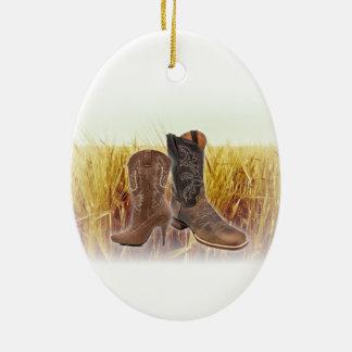 Ornement Ovale En Céramique Bottes de cowboy de pays occidental de champ de