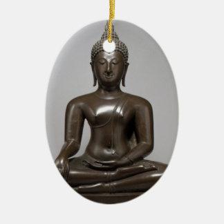 Ornement Ovale En Céramique Bouddha assis - XVème siècle