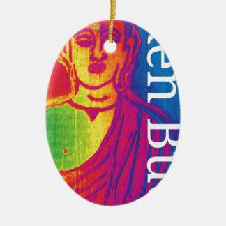 Ornement Ovale En Céramique Bouddha cassé au néon