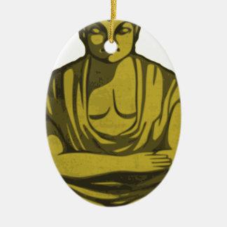 Ornement Ovale En Céramique Bouddha d'or