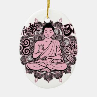 Ornement Ovale En Céramique Bouddha fleuri