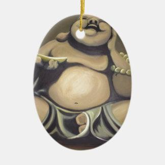 Ornement Ovale En Céramique Bouddha riant