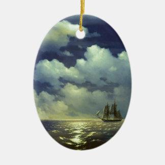 Ornement Ovale En Céramique Brig Mercury après la victoire sur les bateaux