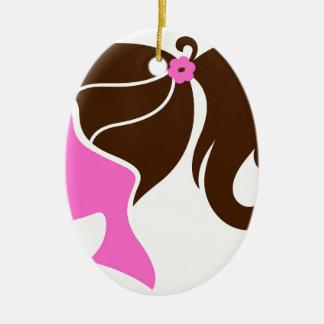 Ornement Ovale En Céramique Brun de rose de silhouette de fille