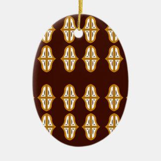 Ornement Ovale En Céramique Brun vintage et or du Maroc