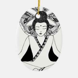 Ornement Ovale En Céramique buddha3