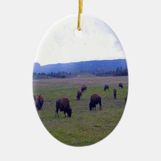 Ornement Ovale En Céramique Buffalo sauvages