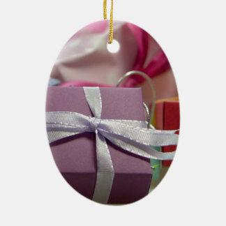 Ornement Ovale En Céramique Cadeaux colorés de Noël
