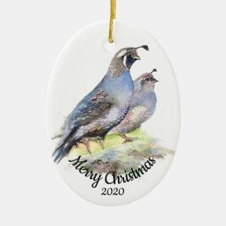 Ornement Ovale En Céramique Cailles de Californie datées d'aquarelle de Noël