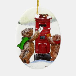 Ornement Ovale En Céramique Carte de Noël d'ours de nounours