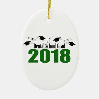 Ornement Ovale En Céramique Casquettes du diplômé 2018 d'école dentaire et
