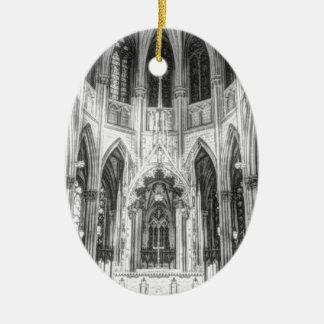 Ornement Ovale En Céramique Cathédrale gothique religieuse vintage d'église