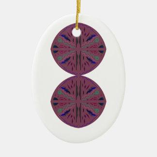 Ornement Ovale En Céramique Cercles/mandalas élégants de Brown