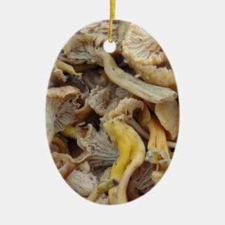 Ornement Ovale En Céramique Champignons de Chantarelle
