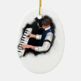 Ornement Ovale En Céramique Chanteur de piano