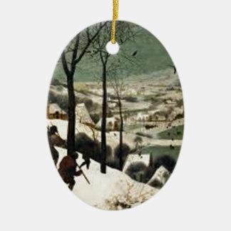 Ornement Ovale En Céramique Chasseurs dans la peinture d'hiver