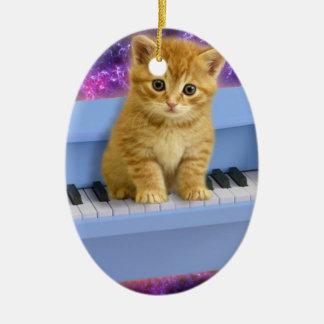 Ornement Ovale En Céramique Chat de piano