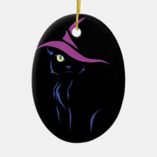 Ornement Ovale En Céramique Chat noir de Halloween