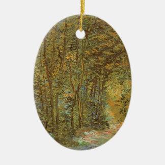Ornement Ovale En Céramique Chemin dans les bois par Vincent van Gogh, art